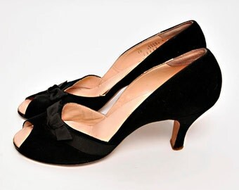 Vintage 1950s / 50s Black Peep toes shoes  10 AAAA/ Pin Up