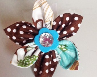 Aqua & Brown Girl Dog Collar Flower