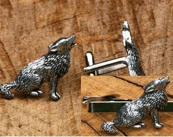 Wolf Cufflinks & Tie Slide Clip Mens Hunting Gift Set UK Pewter