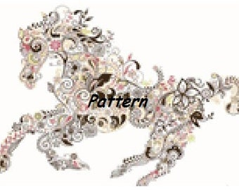 Abstract Horse. Cross Stitch Pattern. PDF Files.