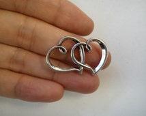 20 love heart connector joiner links tibetan silver antique silver
