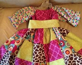 Girls Patchwork Peasant Dress Size 6 7 8
