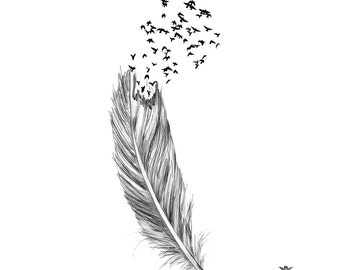Fly free, Feather and birds Wickedly Lovely Skin Art Temporary Tattoos (includes 2 tattoos)