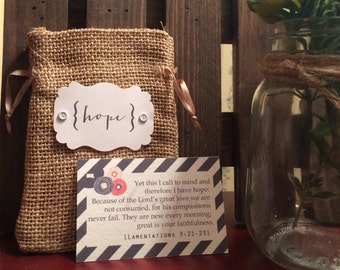 Scripture Memory Cards || HOPE || Encouragement || Diagonal Stripes || Scripture || Burlap || Gift