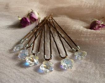 Swarovski crystal hairpin, crystal flower, bridal hairpin, flower girl hairpin, prom hairpin.  Set of 9