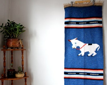 Vintage Mexican Blanket Wall Hanging W Donkey
