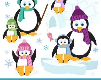 Hand Drawn Vector Penguins Clip Art - Penguin Clipart, Penguins Clip Art, Penguin Vector, Winter Clip Art, Cute Penguins, Christmas Penguins