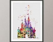 Cinderella Disney inspired Princess Castle Disney Castle Watercolor Print Archival Fine Art Print Princess Room Wedding Gift [NO 133]