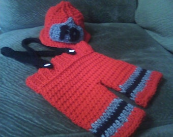 Baby Fireman Crochet Photo Prop Costume Newborn to 3 Months