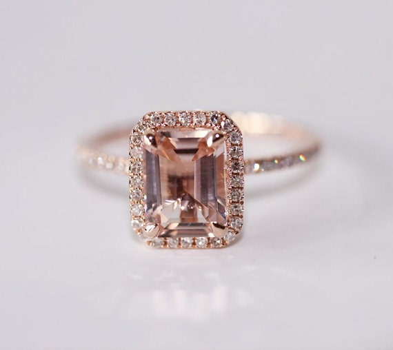 Morganite/Morganite Ring Diamond ring Claw Prongs 14K Rose Gold Halo Emerald Cut Wedding Ring
