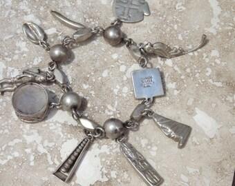 Horacio de la Parra ~ Mexico Silver Charm Bracelet with 9 Charms Pre Eagle