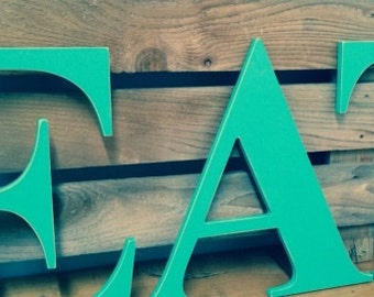 """EAT letters hand painted 14""""  wood 