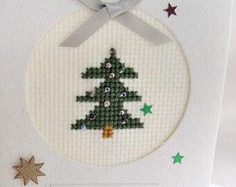 handmade cross stitched Christmas card – Happy Holidays Christmas tree