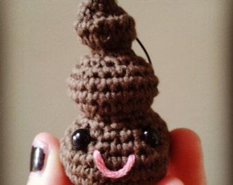 Handmade Happy Poo Crochet Keyring
