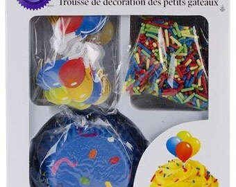 Celebrate Cupcake Decorating Kit - Wilton Cupcake Liners Baking Cups Sprinkles Balloon Picks