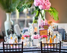 BLACK & WHITE STRIPED Tablecloth, Table Runner, Overlay, Outdoor Wedding, Bold Black and White Wedding,