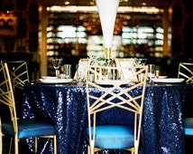 Navy Sequin Tablecloth! Also Available in  Sequin Overlays, Sequin Table Runners