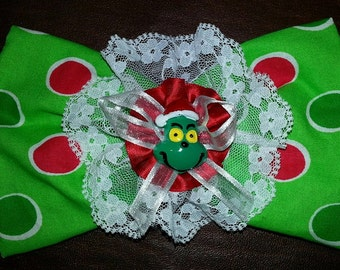 The Grinch Fabric Lace Satin Hair Bow Clip