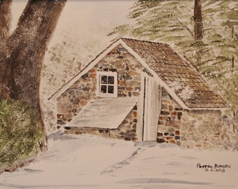 spring house,watercolor painting,paintingpainting of springhouse,scenic art, scenic painting,farm paionting original painting,bucks county