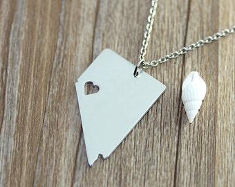 I heart Nevada Necklace - Nevada Map Pendant - State Necklace - State Charm - Map necklace - Map Jewelry
