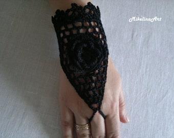 Crochet Mittens, Fingerless Gloves,Crochet Bracelet, Black, 100% Cotton.