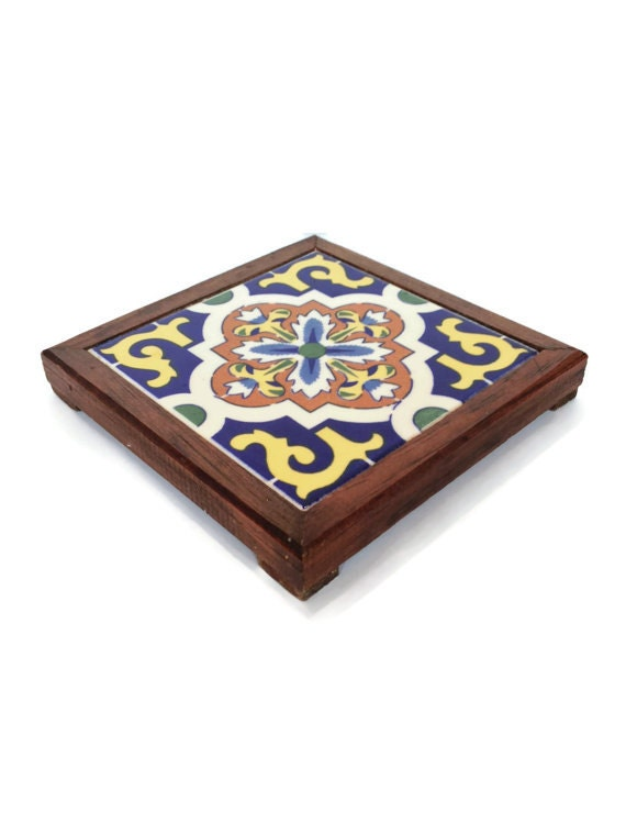 Ceramic Mexican Tile And Wood Trivet Vintage Housewares