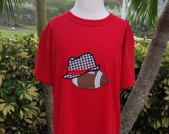 """University of Alabama inspired """"Bear Bryant"""" hat and Football appliqué embroidered shirt. - All sizes - Infant to Adult"""