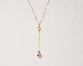 Gold Swarovski Necklace Lariat, Lariat Neckalce, Swarovski Crystal Necklace, Crystal Drop Necklace,Dainty Lariat,Swarovski Rosary,