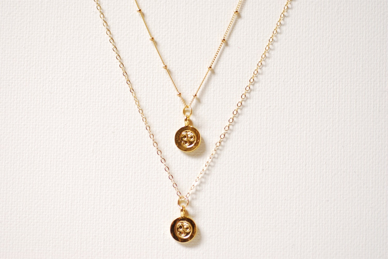gold layering ohm necklace 14k gold charm initial