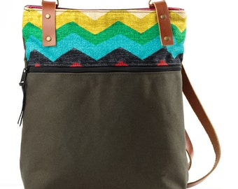 Blue/ Pink/ Yellow Chevron Ziz Zag, Convertible Zip Top Backpack/ Tote Bag with Leather Straps and Canvas