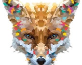 Cross Stitch pattern, Digital Download PDF. Geometric Print of a fox face with beautiful colorful patches in his fur. Bright and Modern