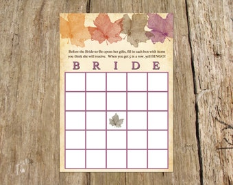 Bridal Shower Bingo Card Game, Fall/Autumn Leaf Design