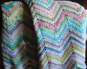 Multi-colored  Pastel Chevron Crochet Blanket or Throw