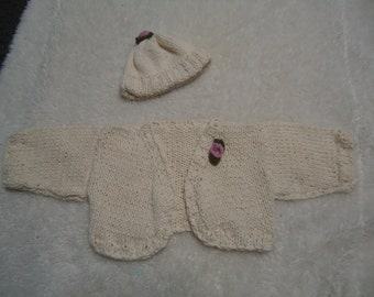 Adorable 6 month old baby girl sweater and hat set