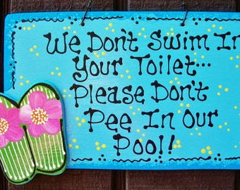 No Peeing In Pool Etsy