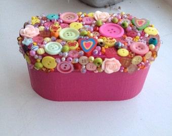 Wooden button trinket box