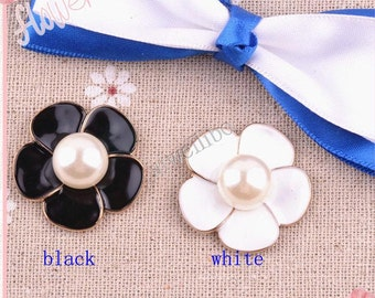 5 pcs Mix color 22mm Five Flower Pearl Buttons Embellishment Jewelry Accessories