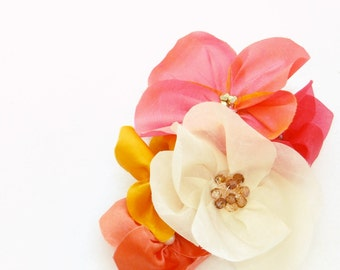Silk Flower Headpiece on Large Scissor Clip - Bridesmaids Colourful Floral Hair Accessory