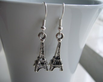 Eiffel Tower Earrings - Paris Earrings - Antique Silver Eiffel Earrings - Eiffel Tower Charm Earrings - Nickel Free