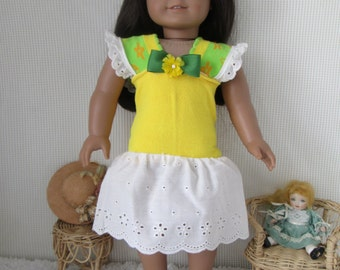 Doll dress, yellow and white eyelet with matching sandals, fits American Girl doll