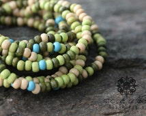 4mm Nature Green Blue Wooden Seed Bead Spacer Light Weight Wood Beads- Approx 500 beads - QTY 1 Strand -142089