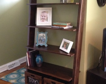 Custom Solid Wood Ladder Bookcase with Wooden Storage Crates