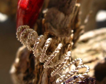 Yummy Red Pomegranate & Jasper  Bracelet with Sterling Silver Spirals - MEBrRdJa3