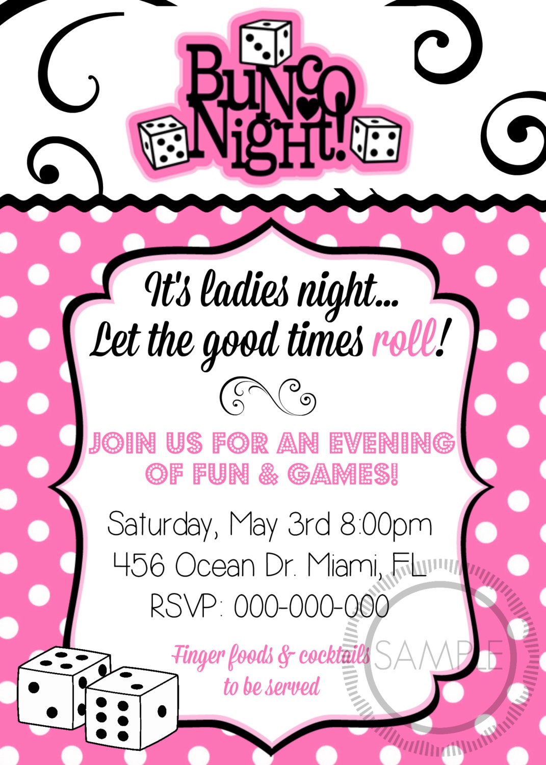 Bunco Night Ladies Night Party Invitation E10261624441779990M