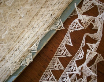 2 yds. of Antique lace filet type lace french origin 1900