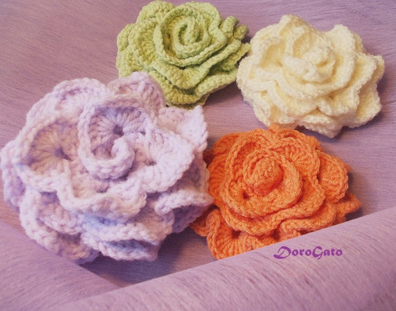 Easy crochet flower pattern, brooch pattern, rose crochet ...