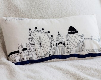 Decorative Pillow/Throw Pillow Cover/Embroidered Pillow/London Skyline Cushion Pillow/Housewares/Home Decor