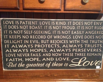"Custom Carved Wooden Sign - ""Love is Patient, Love is Kind.  It Does Not Envy, It Does Not Boast ..."""