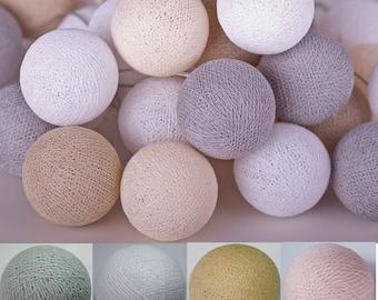 20 light brown tones cotton ball Bali string light wedding party display light decor room indoor outdoor