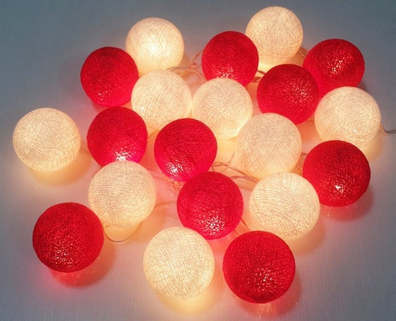 String Lights Valentines : string lights valentine red white cotton ball 20 party patio
